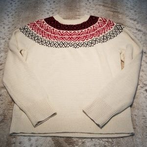 Chaps Cream Medium Weight Crewneck Sweater